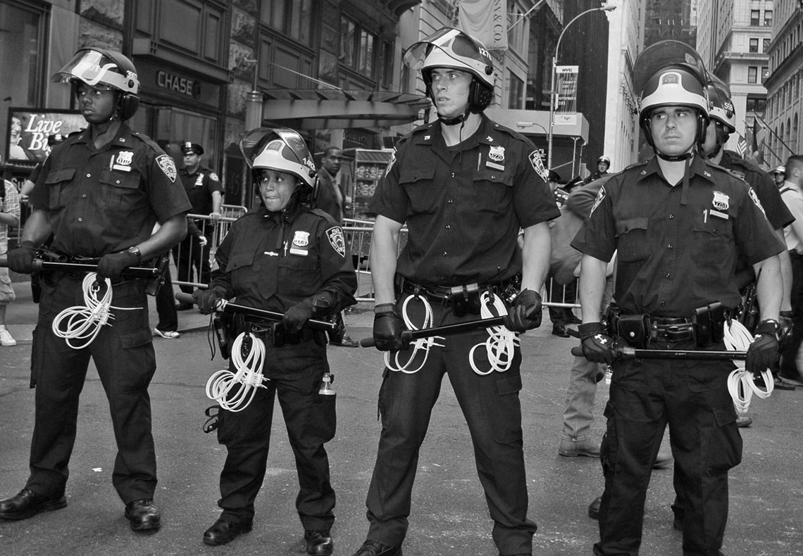 Occupy Wall Street NYPD officers block street