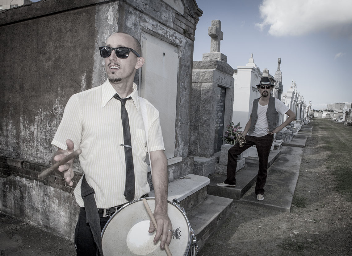 Drummer Paul Thibodeaux and Singer Songwriter Richard Julian at St. Louis Cemetery New Orleans
