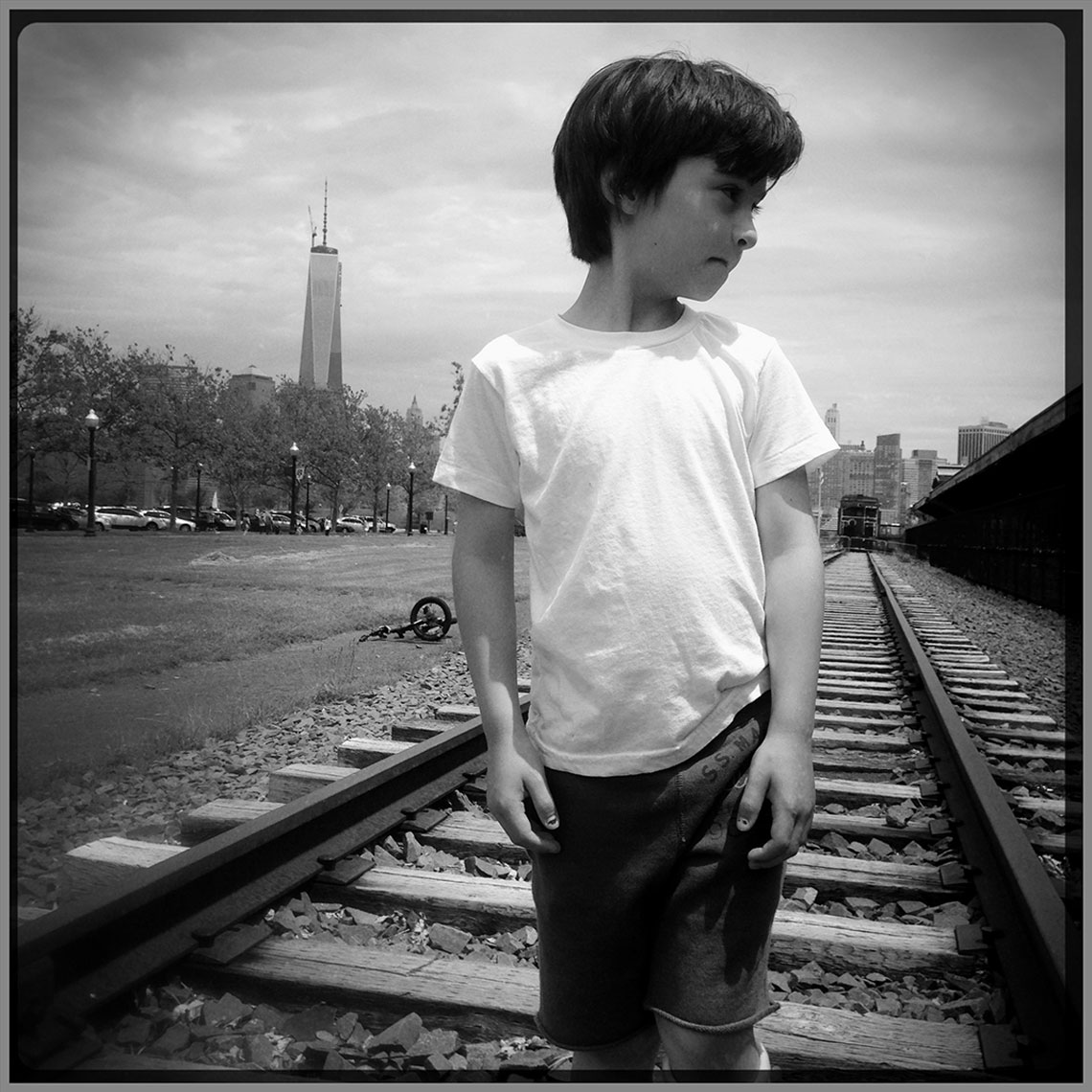 Boy on Train Tracks
