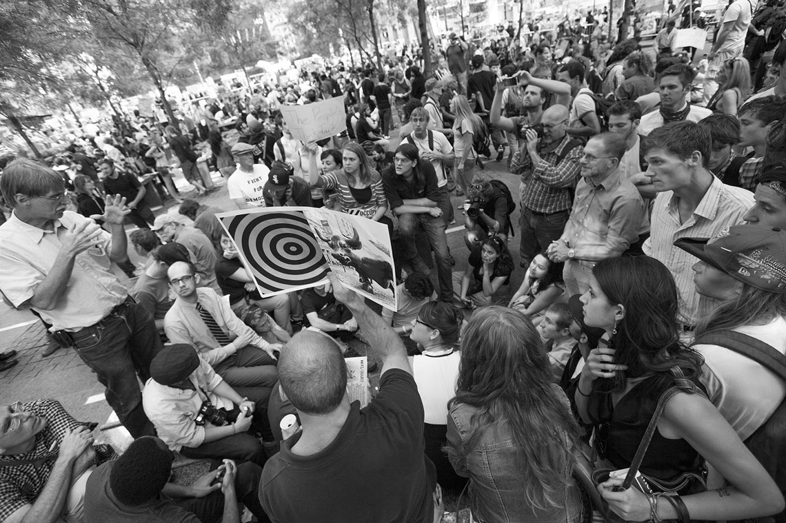 Occupy Wall Street Zuccotti Park massive crowd gathers