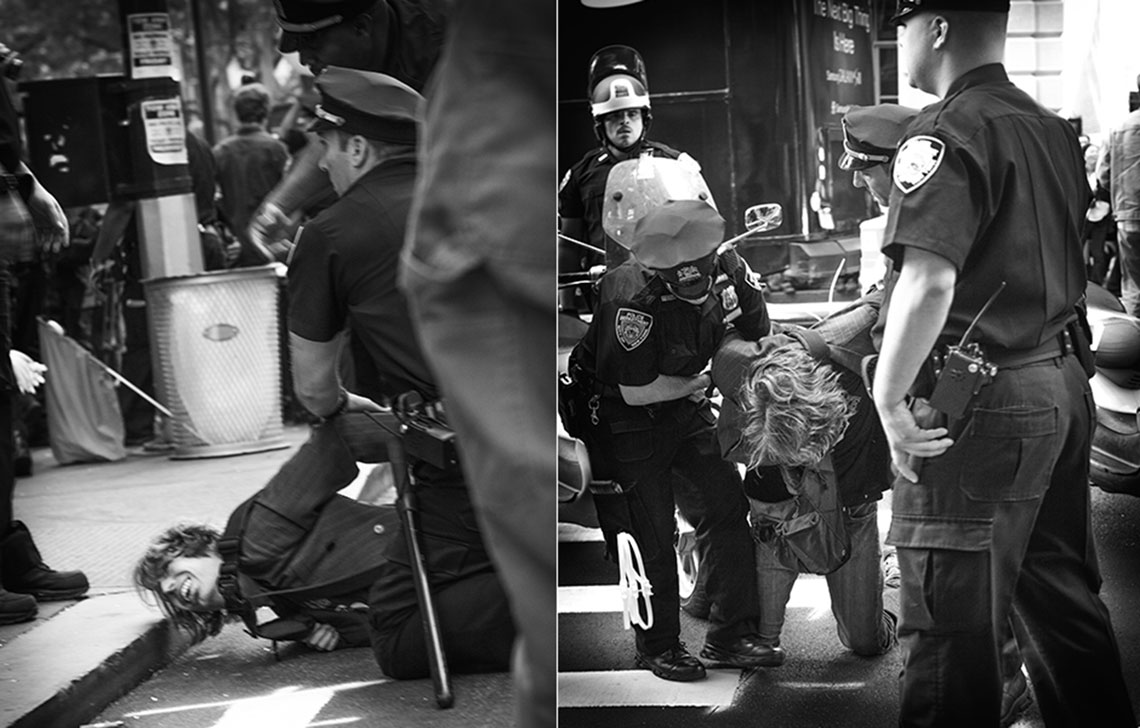 Occupy Wall Street NYPD arresting protestor handcuffing on the ground