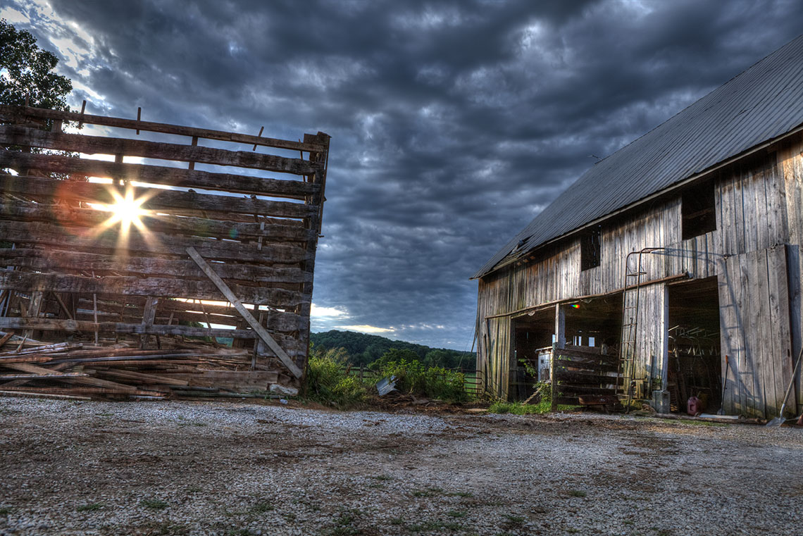 Sunrise through barn Barnwood Builders DIY Network